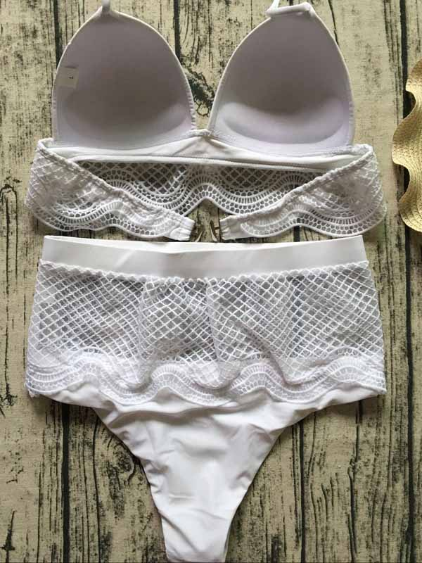 White Halter Lace Panel Bikini Top And High Waist Bottom