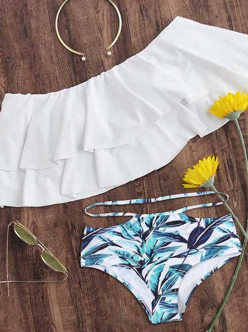 White Halter Ruffle Trim Bikini Top And High Waist Bottom