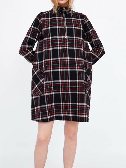 Black Mini Dress Plaid Stand Collar Pockets Detail Long Sleeve