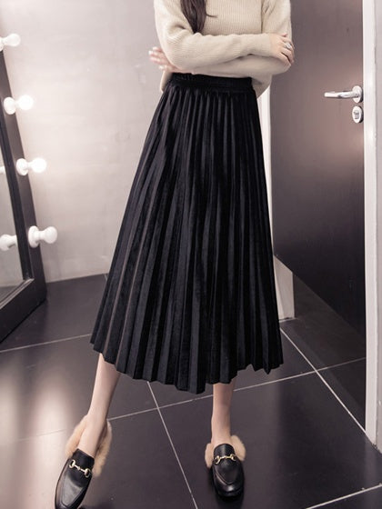 Black Women Midi Skirt Velvet High Waist Pleated Detail