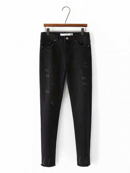 Black High Waist Fur Trim Stretch Fleece Skinny Jeans