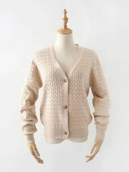 Khaki Women Cardigan V-neck Button Placket Front Long Sleeve