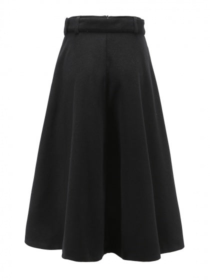 Black Women Midi Flare Skirt High Waist