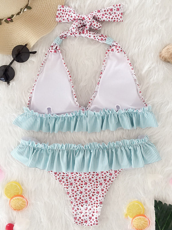 Blue Ruffle Trim Halter Floral Print Color Block Bikini Top And Bottom