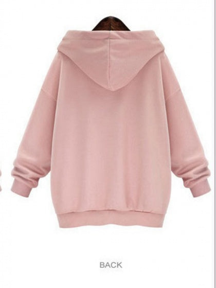 Pink Women Hoodie Letter Print Pouch Pocket Front Long Sleeve