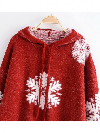 Red Snow Print Long Sleeve Women Hoodie