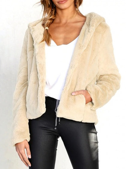 Beige Women Fleece Hooded Coat Long Sleeve