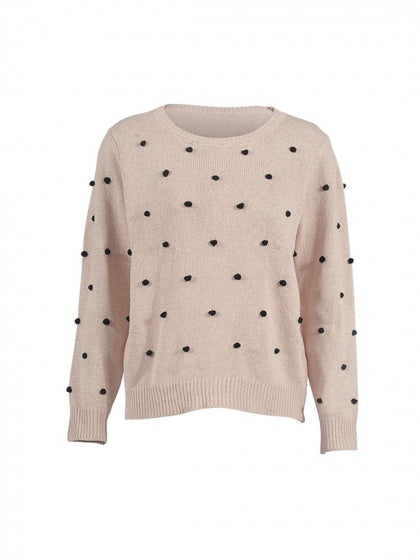 Beige Women Sweater Crew Neck Fluffy Ball Long Sleeve