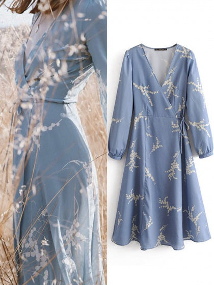 Blue Women Midi Dress V-neck Floral Print Puff Sleeve