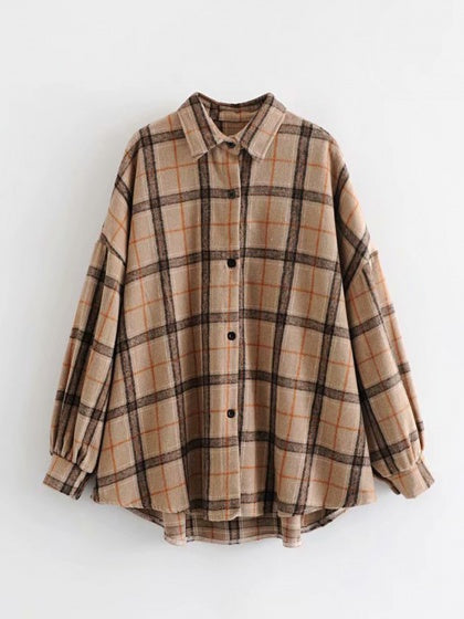 Khaki Plaid Cotton Blend Long Sleeve Women Shirt