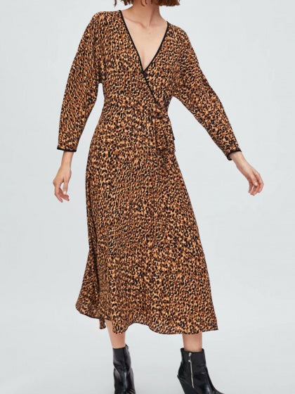 Brown V-neck Leopard Print Tie Waist Long Sleeve Maxi Dress
