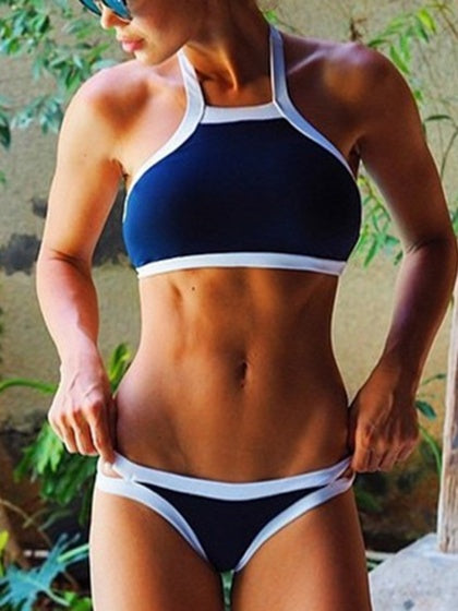 Blue Contrast Halter Bikini Top And Bottom