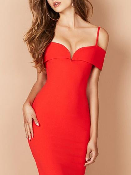 Red V-neck Off Shoulder Spaghetti Strap Bodycon Midi Dress