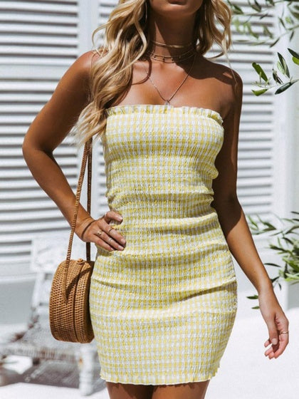Yellow Women Bodycon Mini Dress Plaid Bandeau Frill Trim