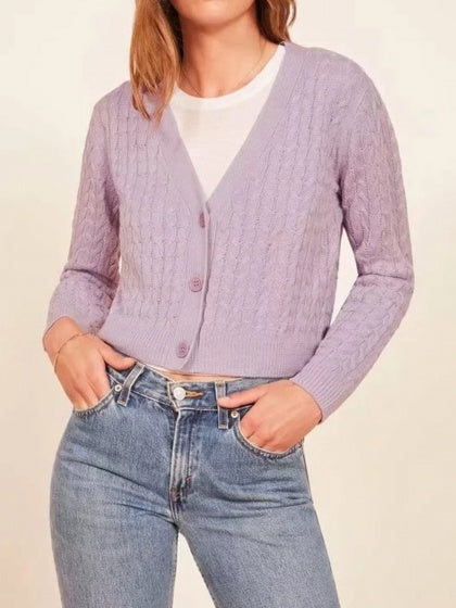 Purple Women Cardigan V-neck Button Placket Front Long Sleeve