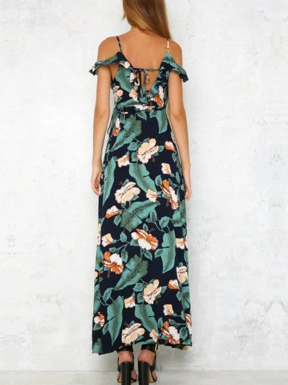 Polychrome Floral Cold Shoulder Ruffle Trim Side Split Maxi Dress