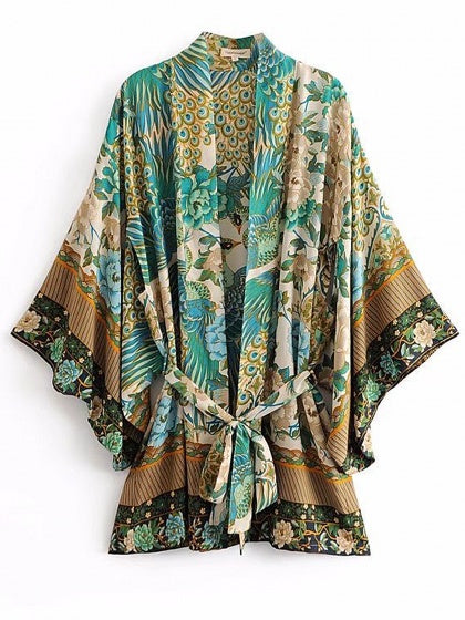 Green Peacock Print Open Front Tie Waist Long Sleeve Coverup