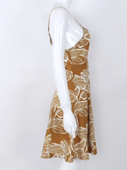 Yellow Spaghetti Strap V-neck Leaf Print Open Back Mini Dress
