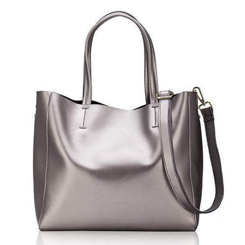 Women's Soft Pearl Leather Large Capacity Handle Shoulder Handbag