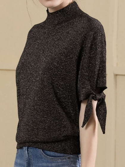 Black High Neck Tie Cuff Women Wool Sweater