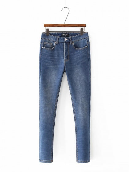 Blue High Waist Fleece Skinny Jeans