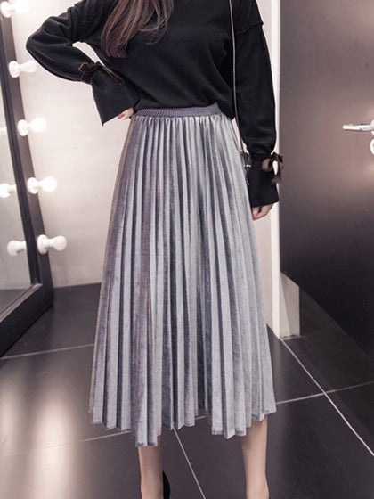 Gray Women Midi Skirt Velvet High Waist Pleated Detail