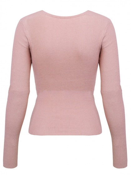 Pink Womem Sweater Ribbed V-neck Knot Front Long Sleeve