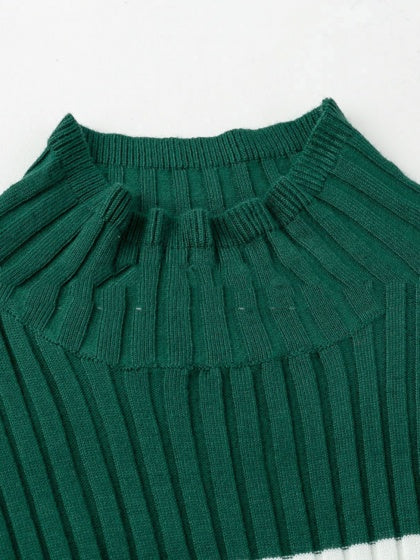 Green Bodycon Dress Ribbed High Neck Contrast Panel Long Sleeve