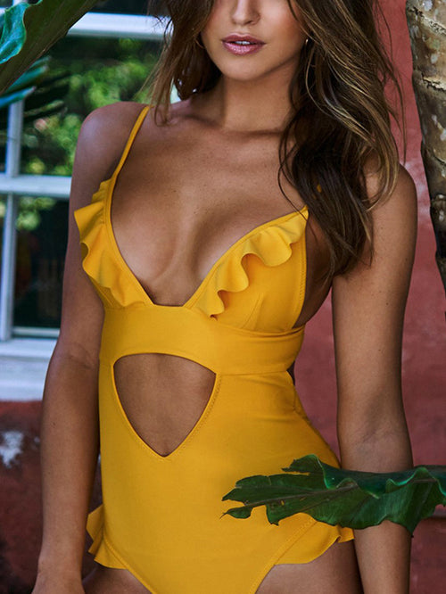 Yellow V-neck Ruffle Trim Cut Out One-piece Swimsuit