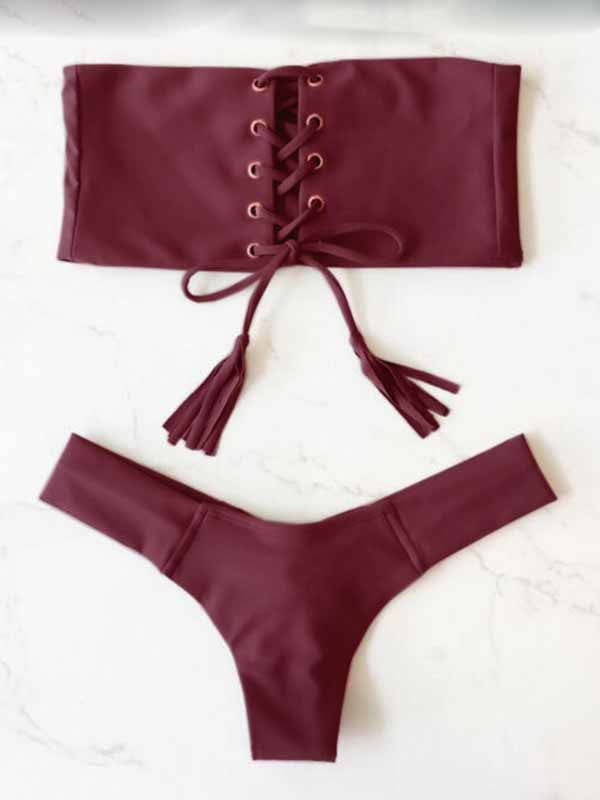 Burgundy Lace Up Front Bikini Top And Bottom