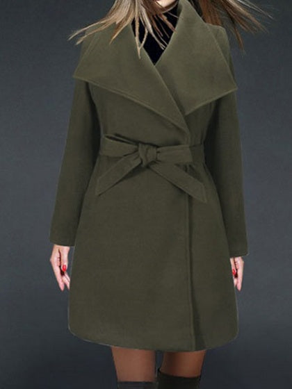 Green Women Wool Blend Coat Lapel Tie Waist Long Sleeve