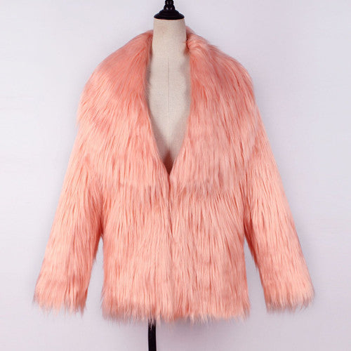 Pink Long Sleeve Women Faux Fur Coat