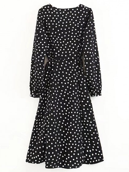 Black V-neck Polka Dot Thigh Split Side Long Sleeve Mini Dress