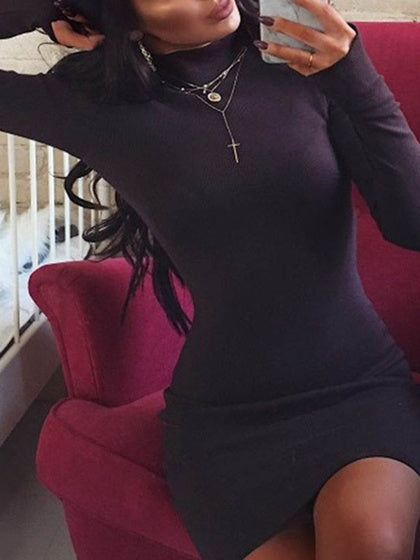 Black Women Bodycon Mini Dress Cotton High Neck Long Sleeve