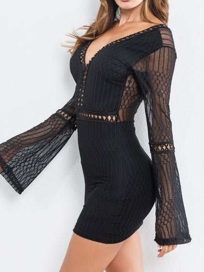 Black Mini Dress V-neck Open Back Flare Sleeve Bodycon