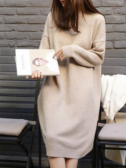 Beige Crew Neck Long Sleeve Women Knit Midi Dress