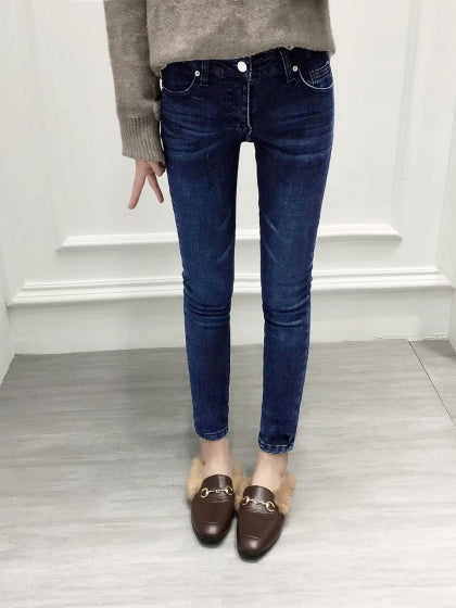 Dark Blue High Waist Fleece Skinny Jeans