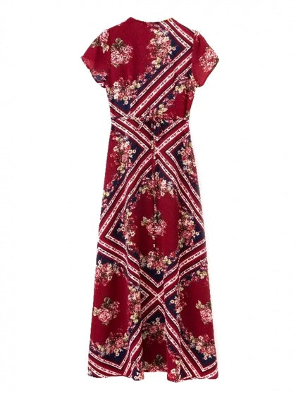 Burgundy V-neck Floral Print Thigh Split Front Maxi Dress