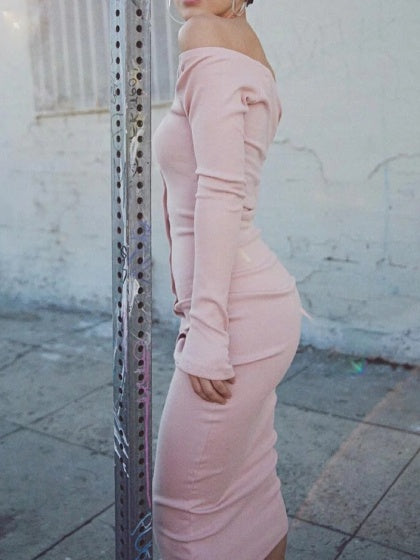 Pink Women Bodycon Midi Dress Ribbed Off Shoulder Long Sleeve