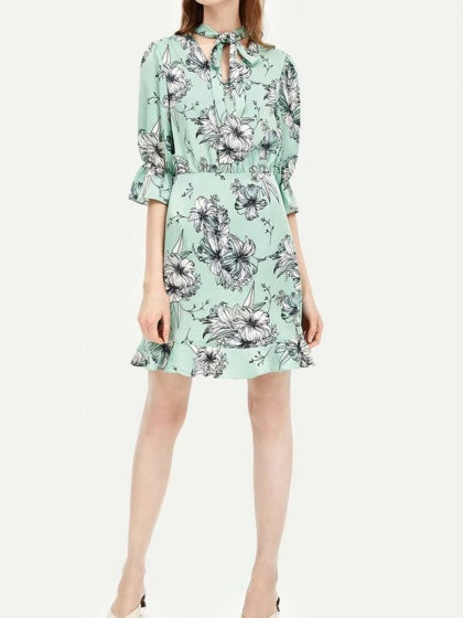 Green Women Mini Dress V-neck Floral Print Ruffle Trim Flare Sleeve