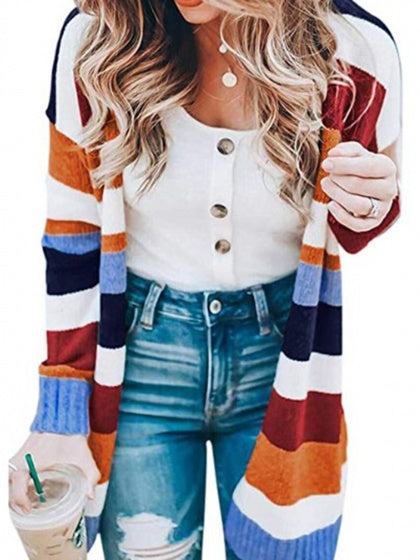 Polychrome Stripe Open Front Long Sleeve Knit Cardigan