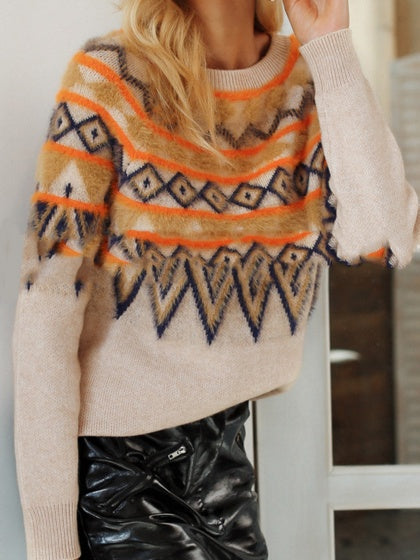 Camel Brown Women Sweater Contrast Folk Print Long Sleeve