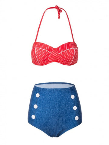 Red Halter Polka Dot Padded Bikini Top And High Waist Bottom