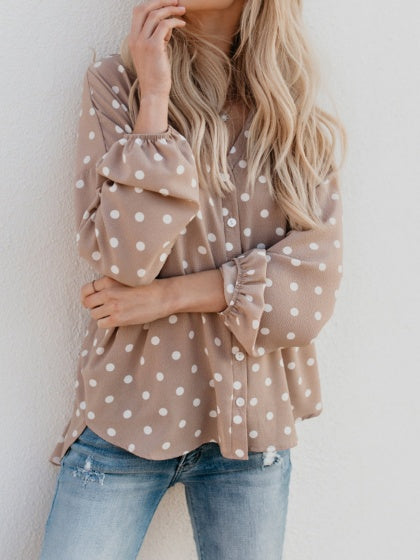 Khaki Women Shirt V-neck Polka Dot Print Dipped Hem Long Sleeve