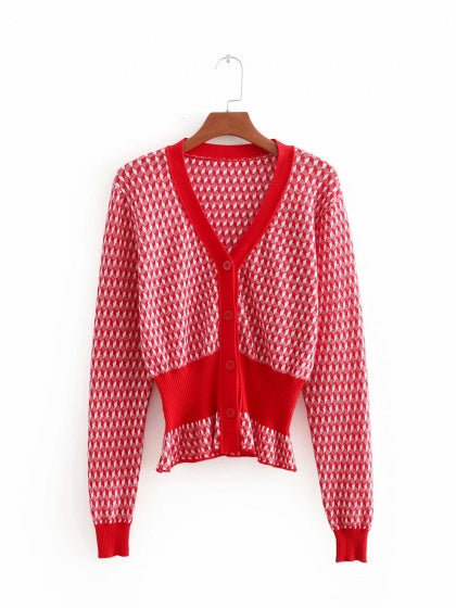 Red Cardigan V-neck Argyle Print Button Placket Front Long Sleeve