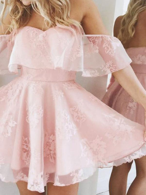Pink Sweetheart Off Shoulder Ruffle Lace Mesh Skater Dress