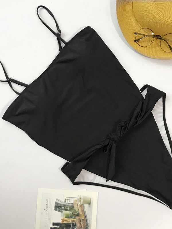Black Spaghetti Strap Tie Front Open Back Swimsuit