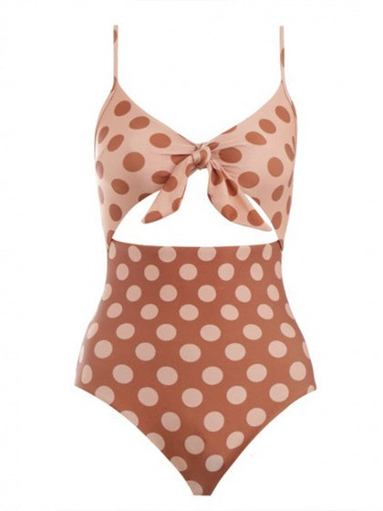 Brown One-piece Swimsuit Polka Dot V-neck Tie Front