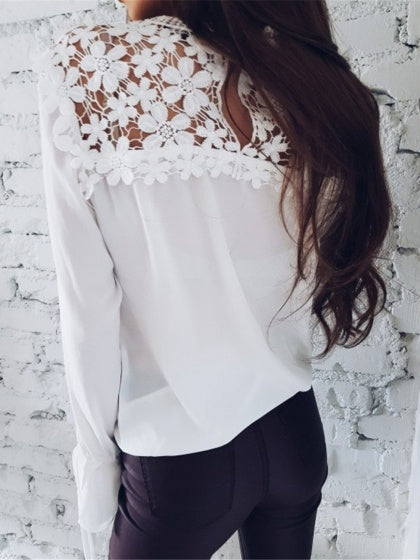 White Chiffon Cut Out Detail Lace Panel Long Sleeve Women Blouse