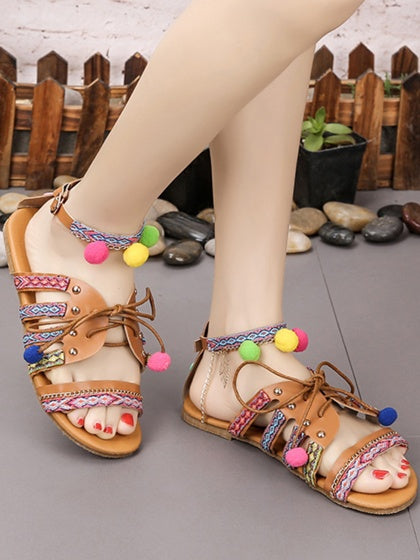 Brown Women PU Bohemian Flat Sandals Fluffy Balls Embellished